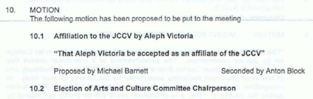 Motion for affiliate membership status of Aleph Melbourne