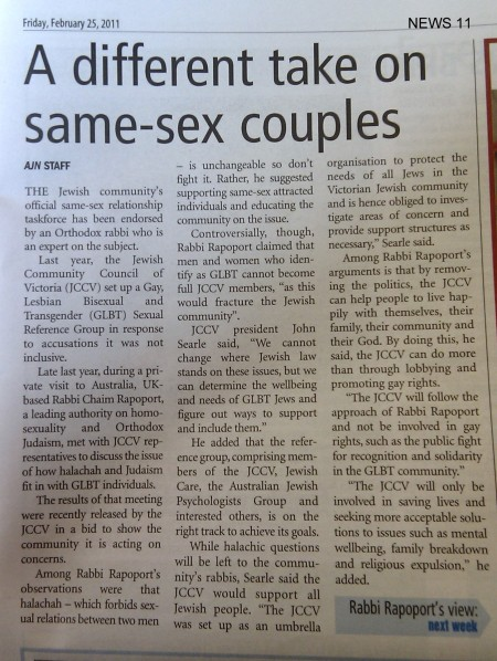 AJN p11 Feb 25 2011: A different take on same-sex couples