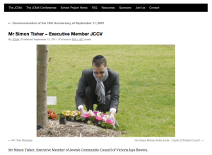 Mr Simon Tisher, Executive Member of Jewish Community Council of Victoria lays flowers.
