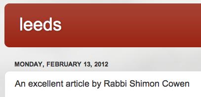 20120213 Ilana Leeds blog supporting Rabbi Shimon Cowen