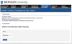 20120218 Dr Shimon Cowen in Monash University staff directory