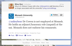 20120220 Monash University responds via Twitter to query re Dr Cowen in staff directory