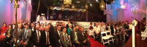 20120326 Panorama of wedding couples on Adam Hills TV set