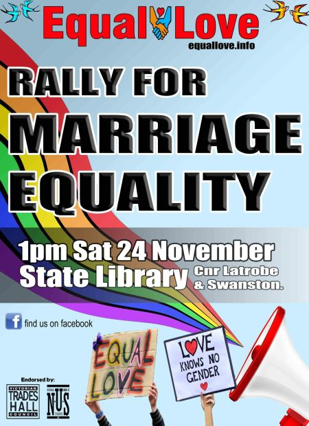 Rally for Marriage Equality - Saturday November 24 2012