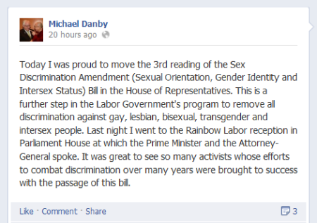20130530 Michael Danby Facebook post