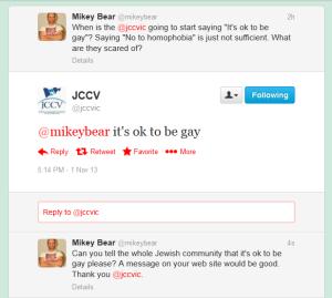 JCCV says it's ok to be gay (Nov 1 2013)