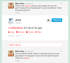 JCCV says it's ok to be gay (Nov 1 2013)