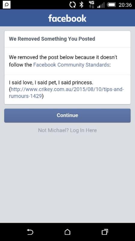 Facebook message on Katter Twitter issue