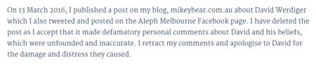 David Werdiger apology