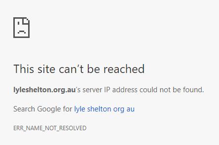 lyleshelton.org.au domain can't be reached April 23 2018