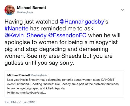 Kevin Sheedy Misogynist Pig Tweet.png