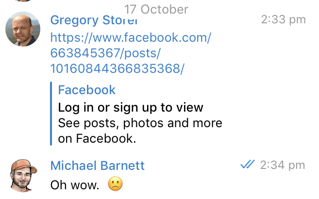 20181017 Message from Gregory